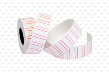 Этикет-лента 21X12X1000 белая с красными полосами,прямоугольная
