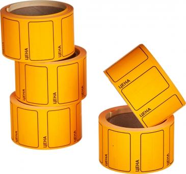 "Этикет-лента 48х44 оранжевая, с надписью ""цена"""