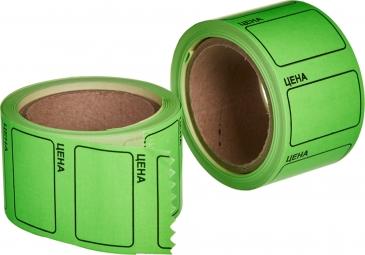 """Этикет-лента 35х25 зелёная, с надписью """"цена"""""""