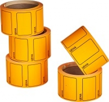 "Этикет-лента 35х25 оранжевая, с надписью ""цена"""